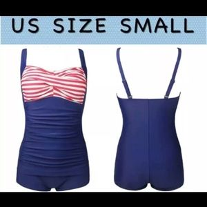 NEW Navy Blue Striped One Piece Swimsuit